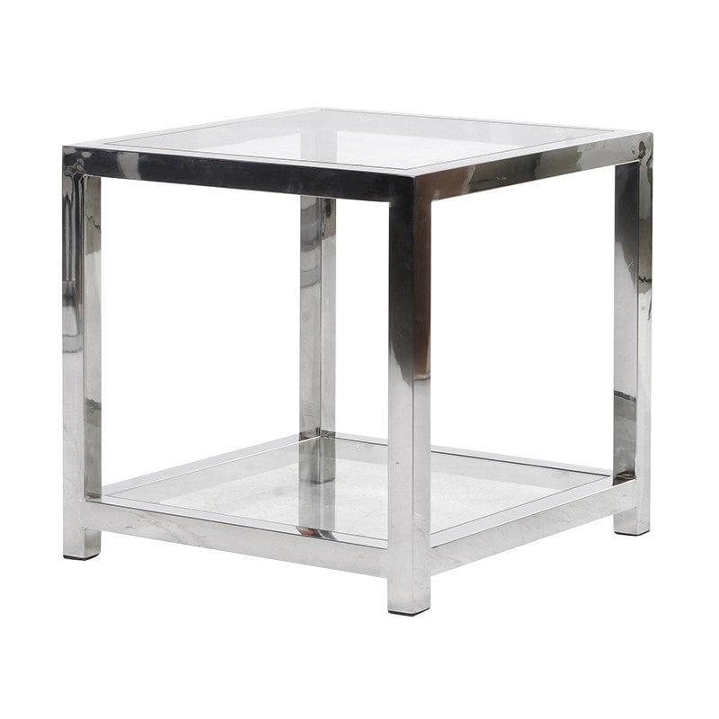 Chrome Cube Lamp Table   PORTESS