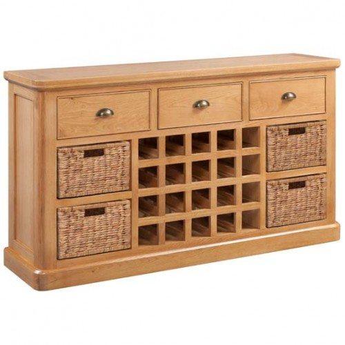 best loved bd264 f23e3 Epping Oak Large Sideboard with Wine Storage & Wicker Baskets
