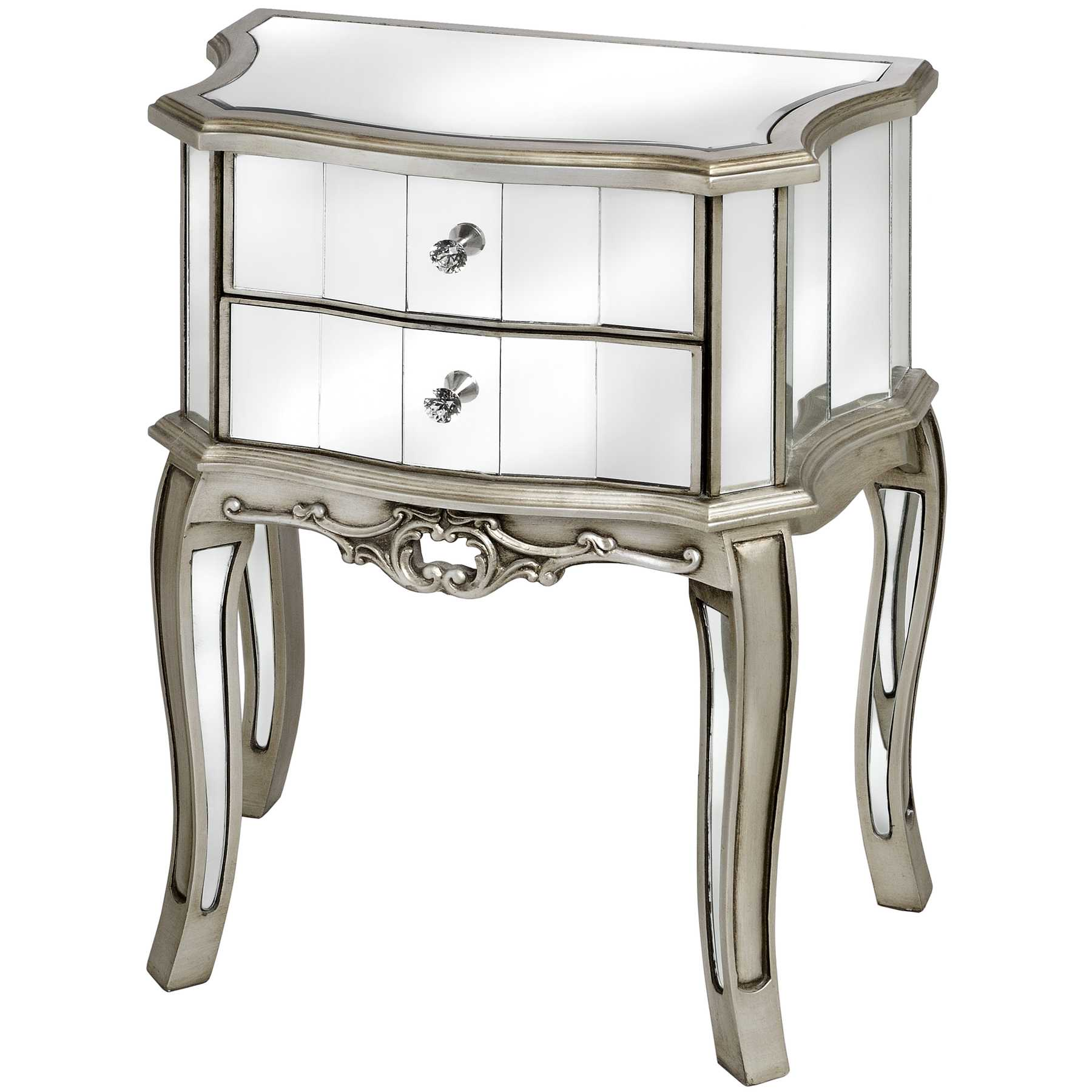 Argento Mirrored 2 Drawer Bedside