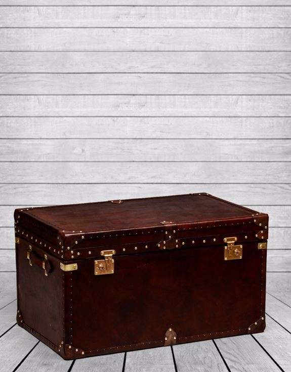 Large Brown Leather Brass Trunk Coffee Table Portess