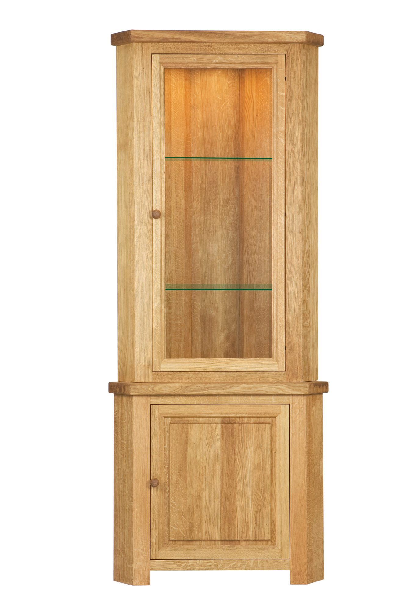 Brampton Oak Corner Display Unit Portess