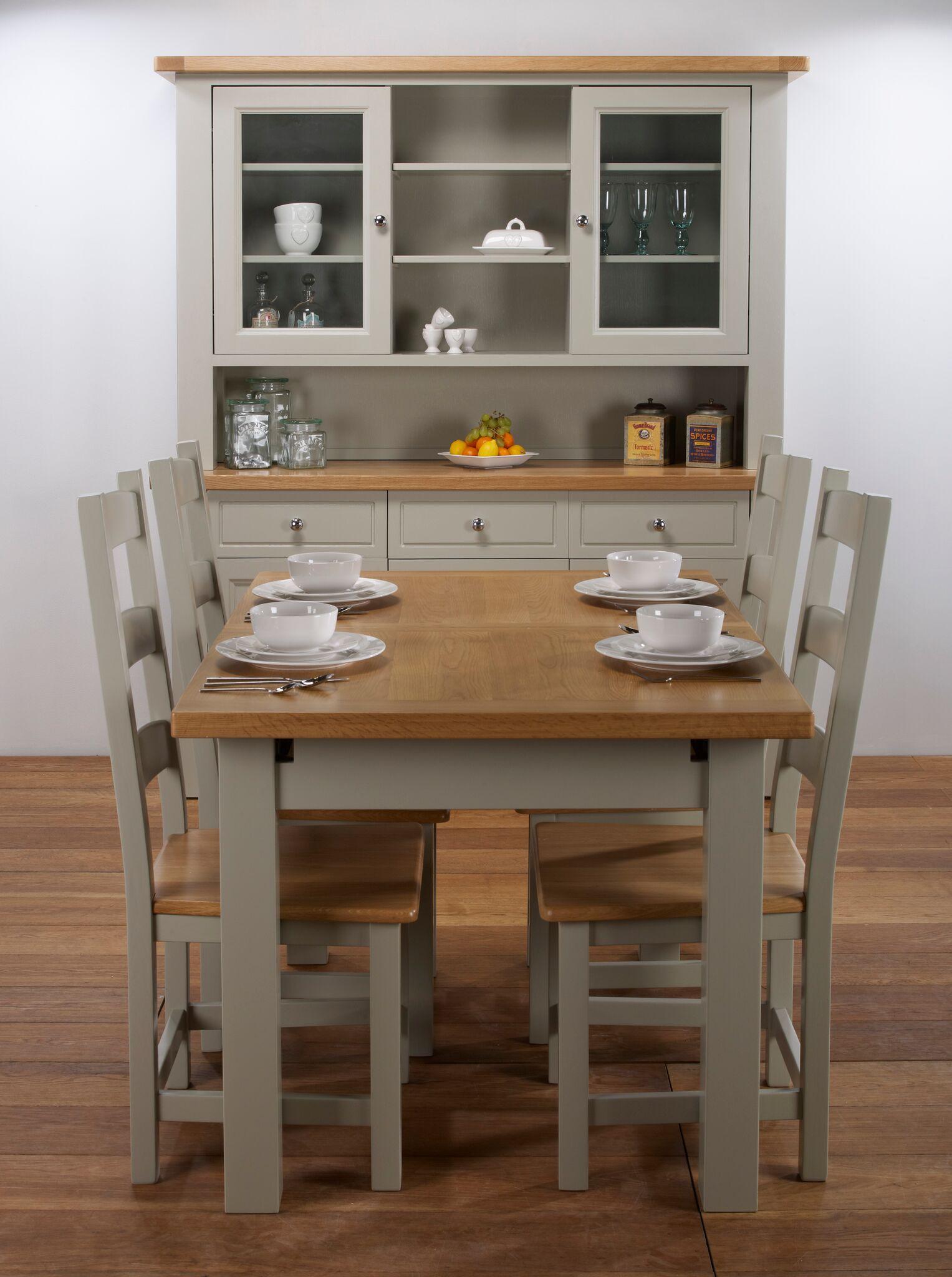 Brampton Oak Extending Table 6 Slat Back Chairs